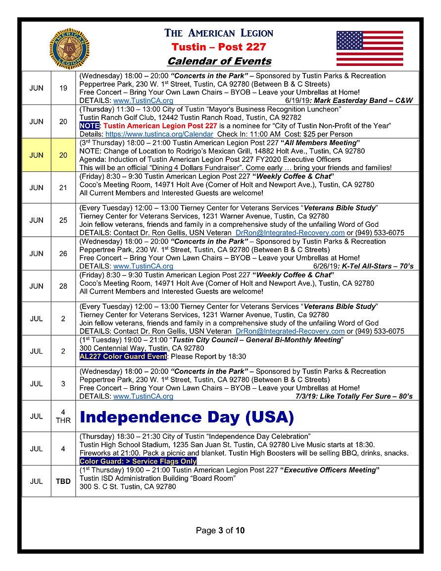 3American Legion 227 Calendar of Events
