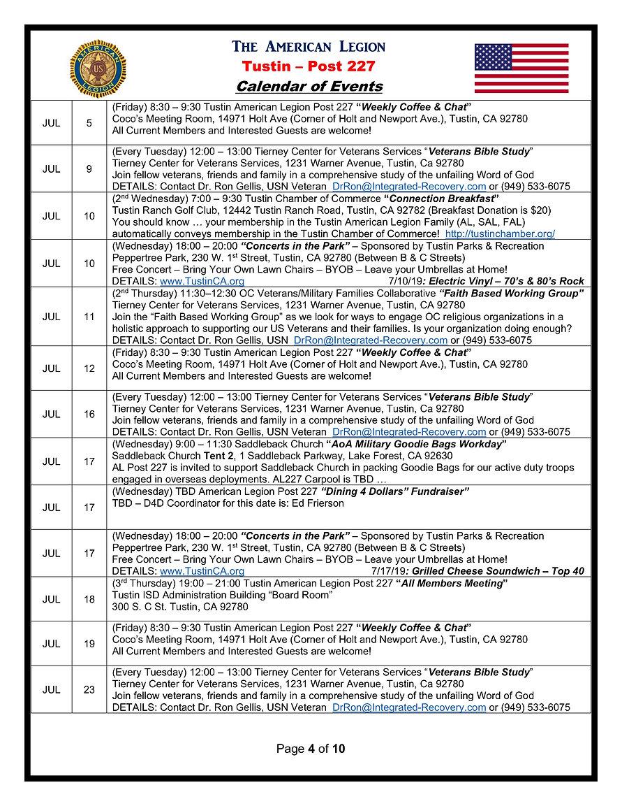 4American Legion 227 Calendar of Events
