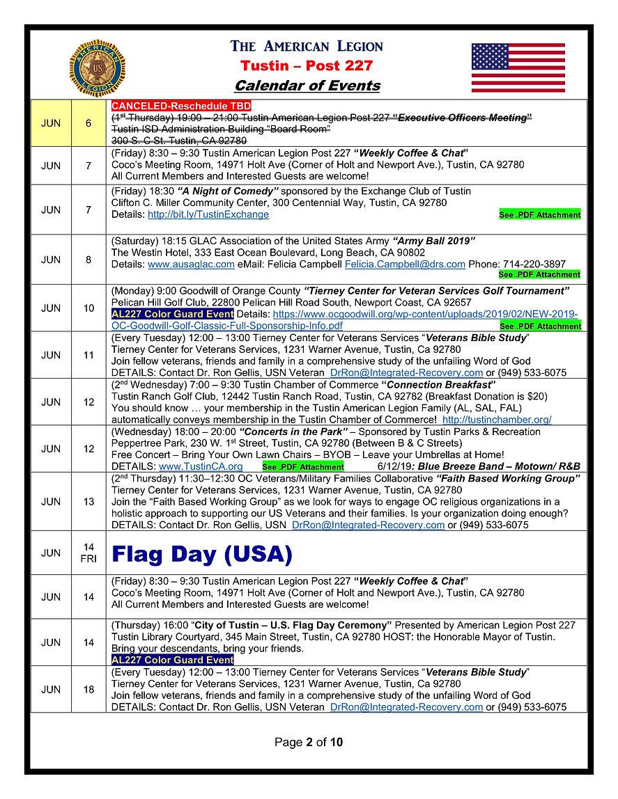 2American Legion 227 Calendar of Events