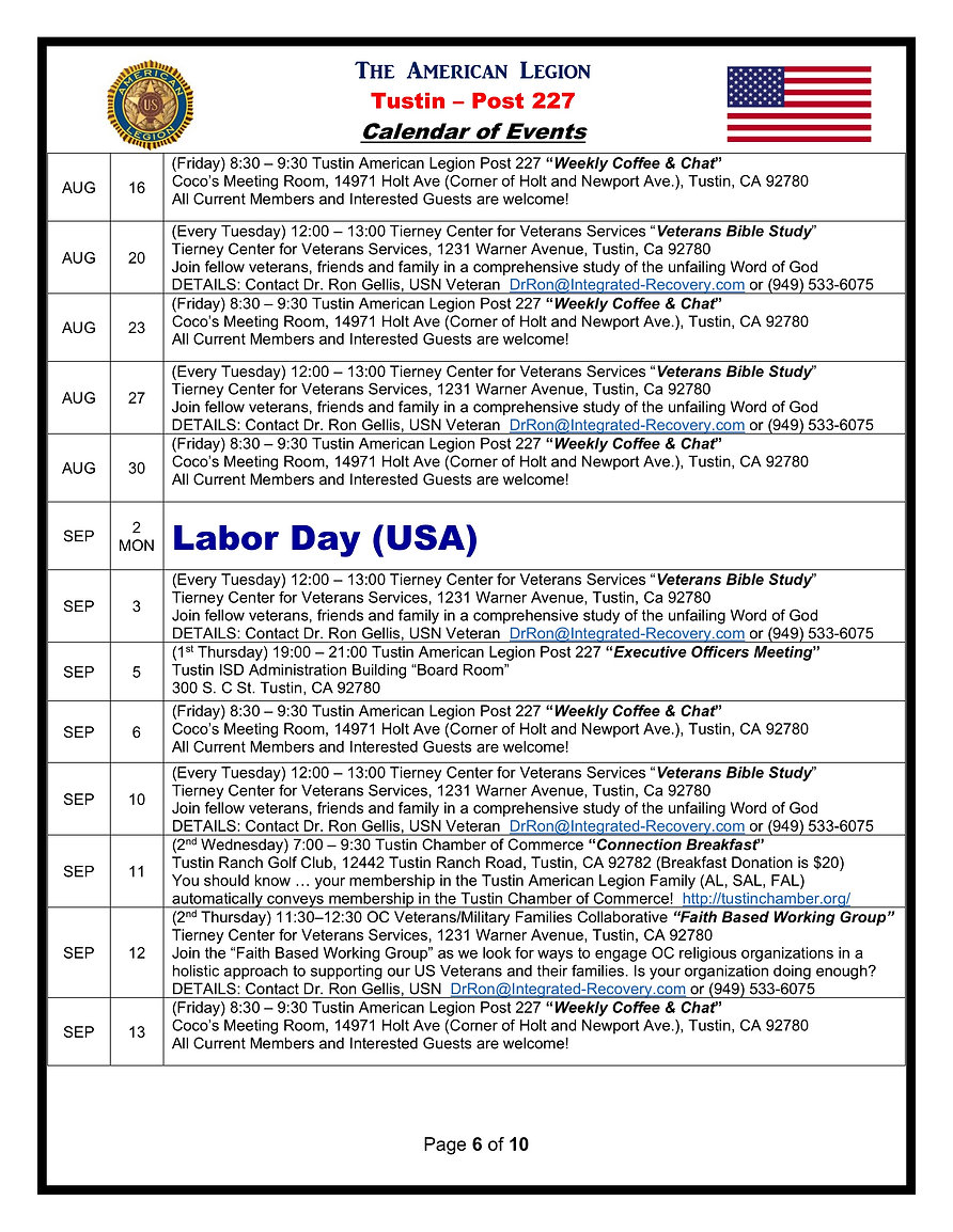 6American Legion 227 Calendar of Events