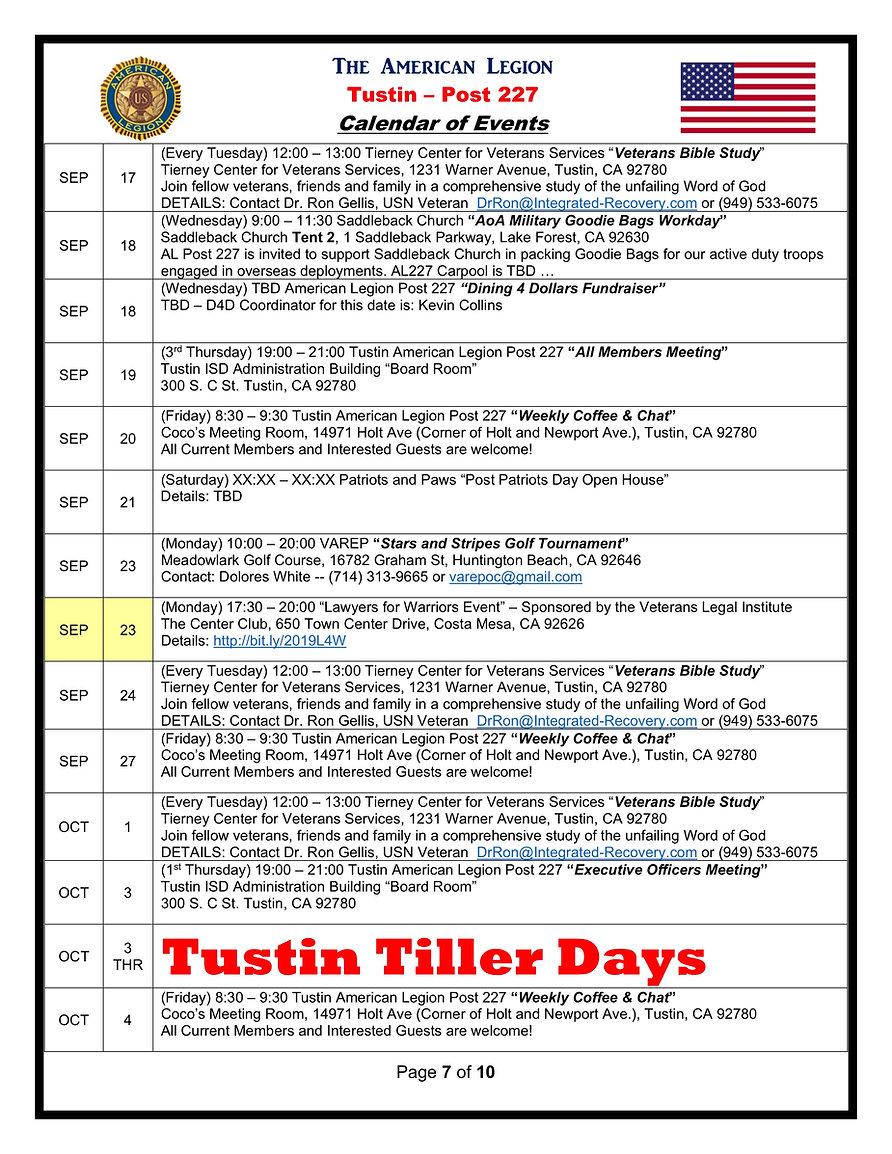 7American Legion 227 Calendar of Events
