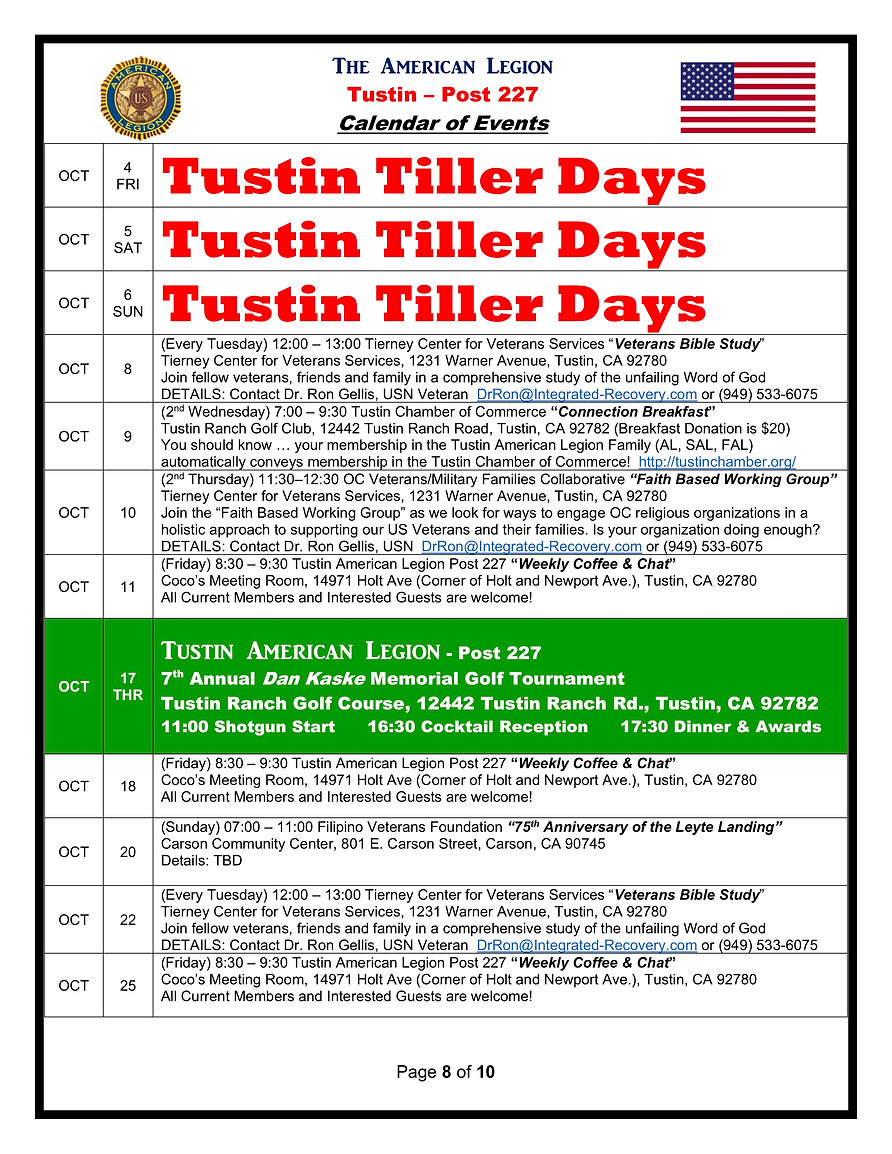 8American Legion 227 Calendar of Events