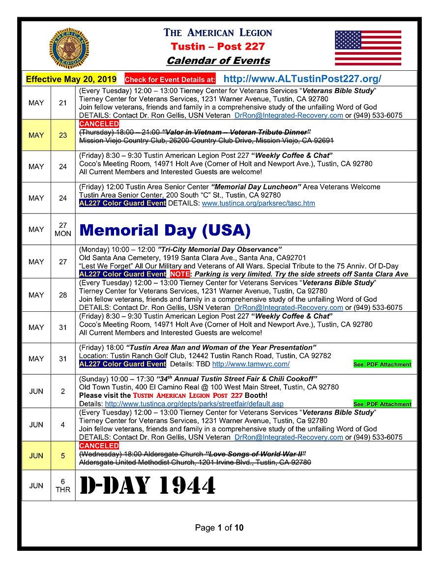 American Legion 227 Calendar of Events E