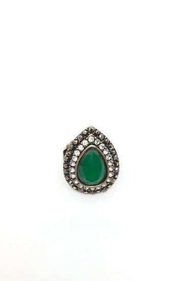 Anello in bronzo e pietre sintetiche verdi e strass