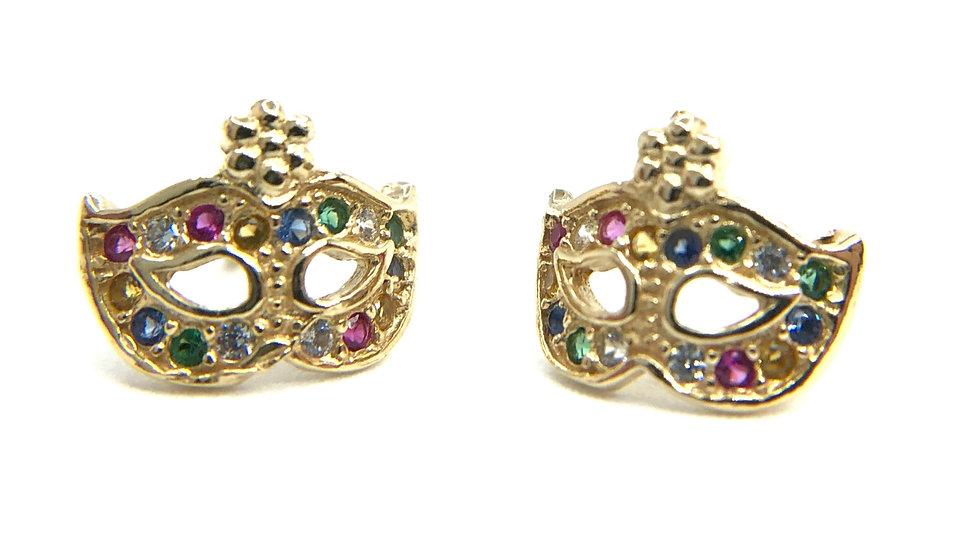 Orecchino Colombina veneziana in argento 925 dorato, con zirconi multicolore incastonati a mano.