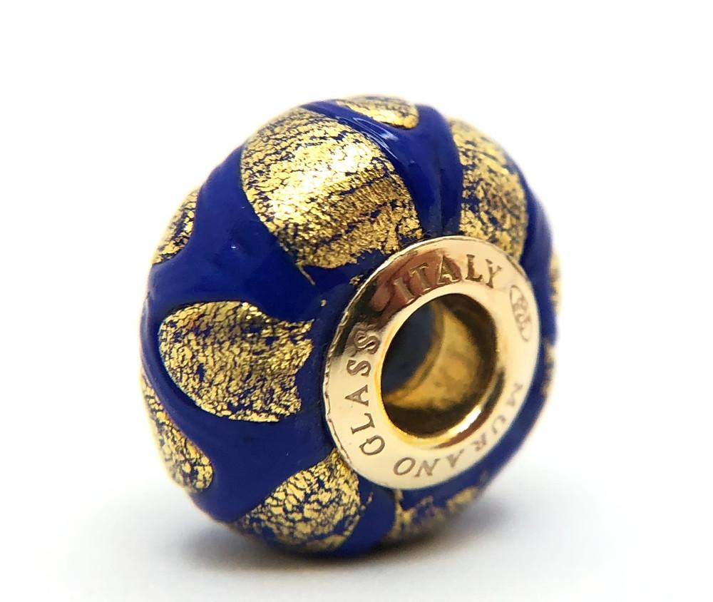 """Perla """"Blu"""" in originale vetro Veneziano con foglie d'oro"""