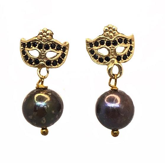 Orecchini Colombina Veneziana con Perle nere naturali e zirconi neri.
