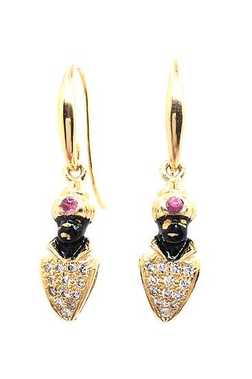 Orecchini Moretto Veneziano pendente con zirconi e Rubino