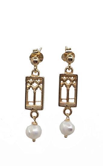 Orecchini pendenti Finestra Bifora Veneziana stile Gotico Fiorito con Perle