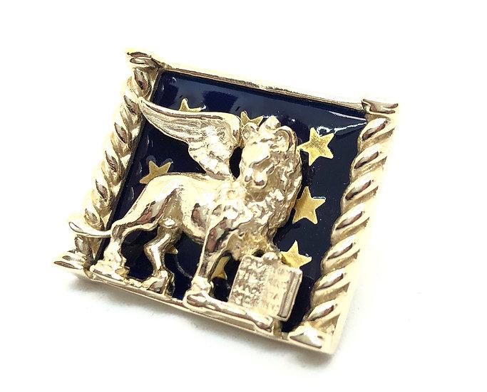 """Gemelli in Oro con  Leone di San Marco in """"cornice"""" stellata."""