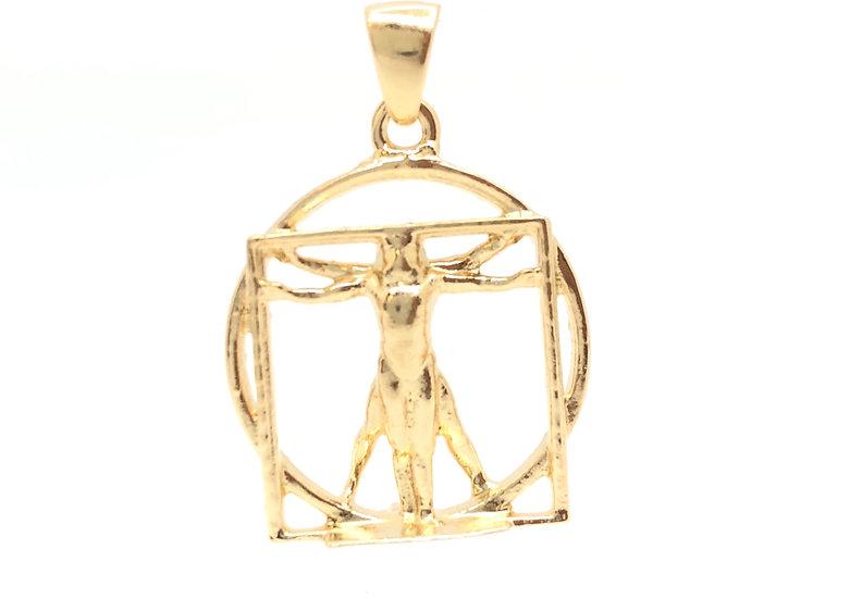 Ciondolo Uomo di Vitruvio tridimensionale lavorato interamente a mano in Argento 925 con finitura lucida e doratura in oro 24
