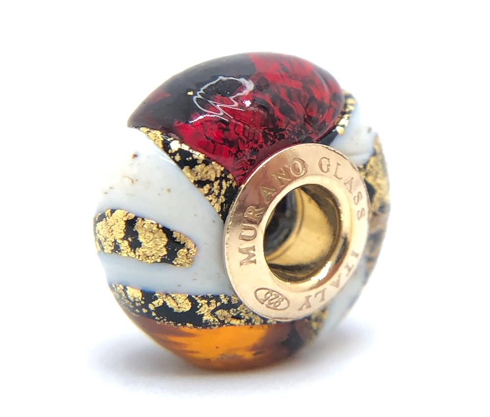 """Perla """"Mosaique"""" in autentico vetro veneziano con foglie d'oro sommerso"""