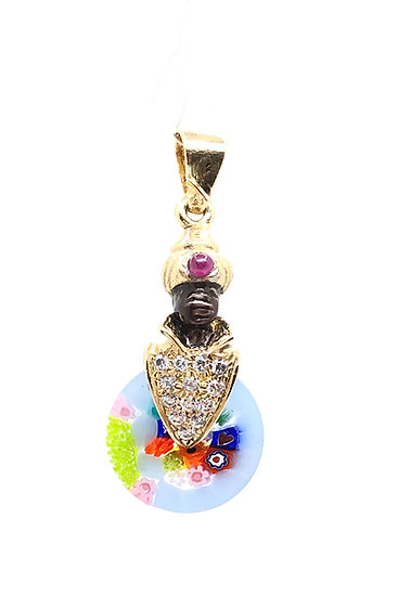 Venetian Moretto pendant in 925 silver with murine glass
