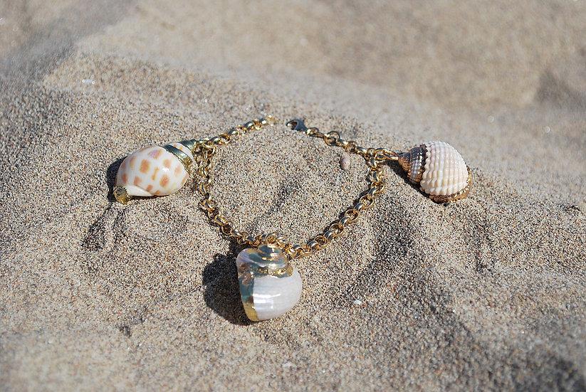 Bracciale in argento 925 dorato con conchiglie naturali dei Caraibi
