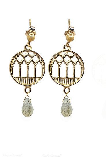 Orecchini pendenti Ca'd'Oro in argento 925 dorato e pietra labradorite