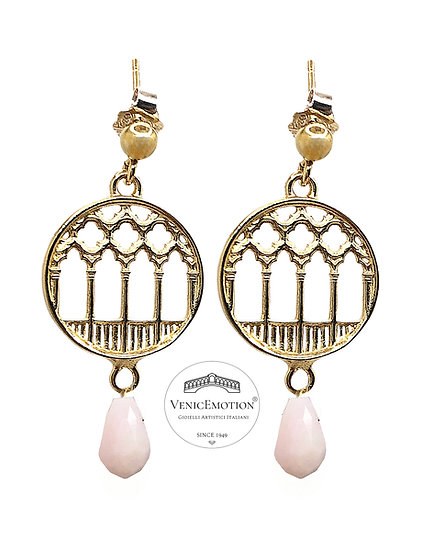 Orecchini pendenti Ca'd'Oro in argento 925 dorato e gocce di Opale rosa
