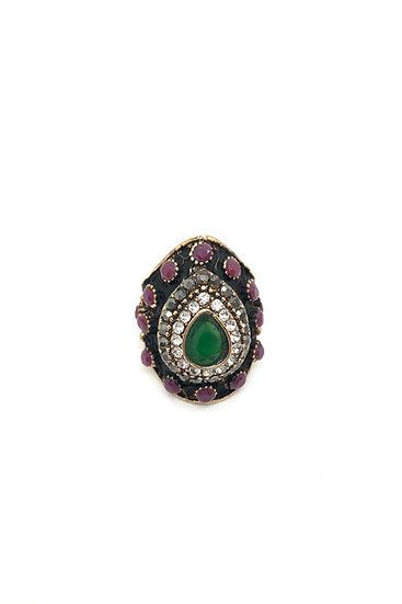 Anello in bronzo e pietre sintetiche verdi e rosse con strass