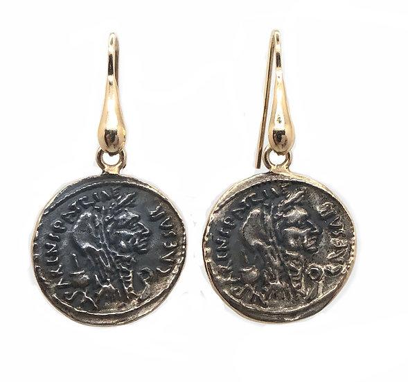 Orecchino pendente moneta Romana