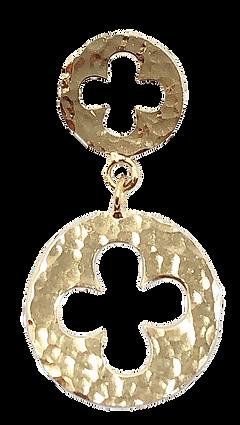 Orecchini pendenti gotici Fioriti in Oro 18 Kt. martellati a mano