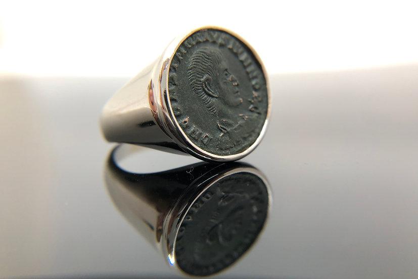 Anello Chevalier con moneta originale antica Romana