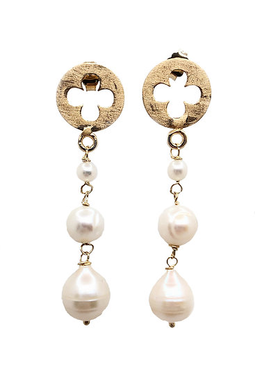 Orecchini pendenti con rosone gotico fiorito veneziano e perle scalari