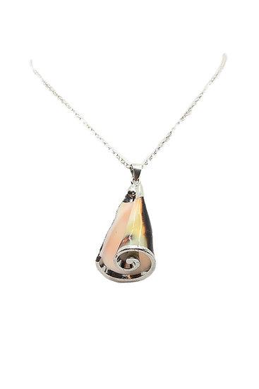 Ciondolo Caraibi con conchiglia spirale naturale e Argento 925 rodiato