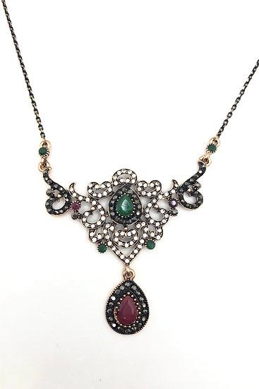 Collana in bronzo con pietre sintetiche colorate e strass