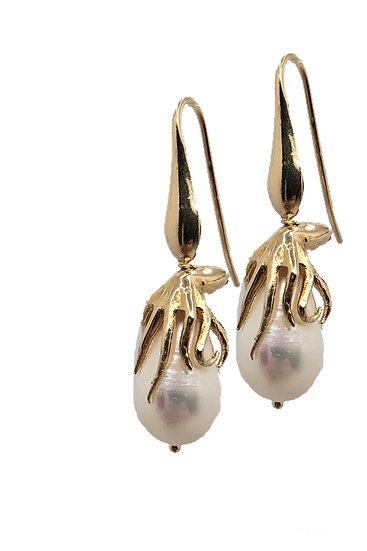 Orecchino pendente Polipetto con Perle naturali di acqua dolce