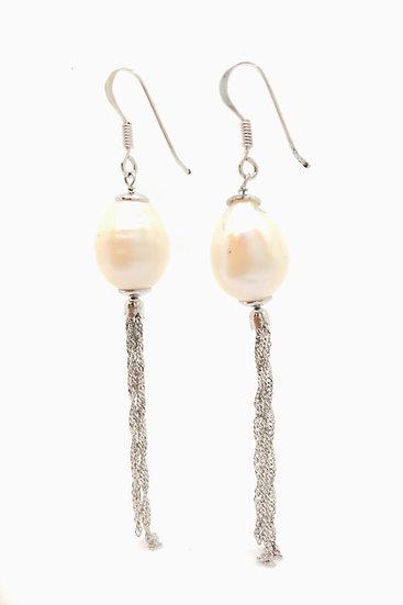 Orecchini con perle naturali d'acqua dolce e argento 925.