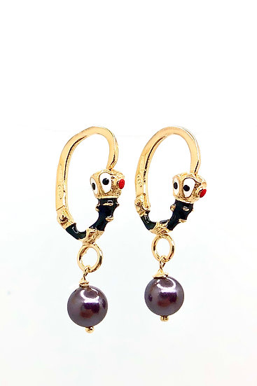Orecchini pendenti Moretto Istriano, con smalti a fuoco e perle nere naturali