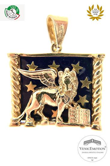 Ciondolo Medaglia Leone di San Marco in Argento 925 dorato