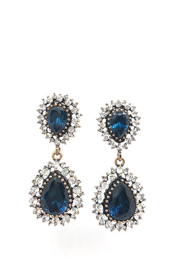 Bronze earrings, synthetic colored stones and rhinestones.