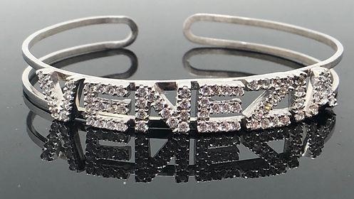 Bracciale personalizzabile in argento 925 dedicato a Venezia, con zirconi incastonati a mano.