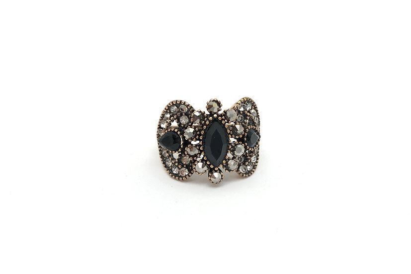 Anello in bronzo,  pietre sintetiche nere e strass