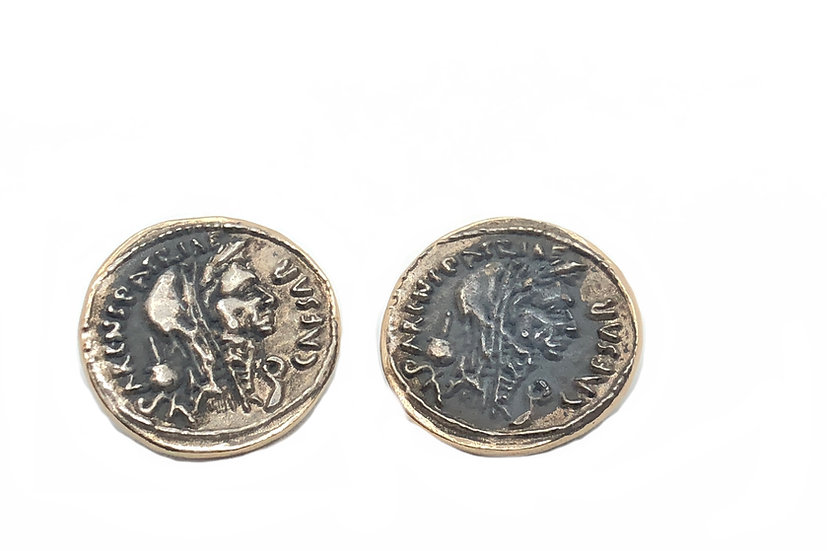 Orecchini moneta romana a lobo, anticate