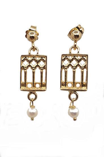 Orecchini pendenti Finestra Trifora Veneziana stile Gotico Fiorito con Perle
