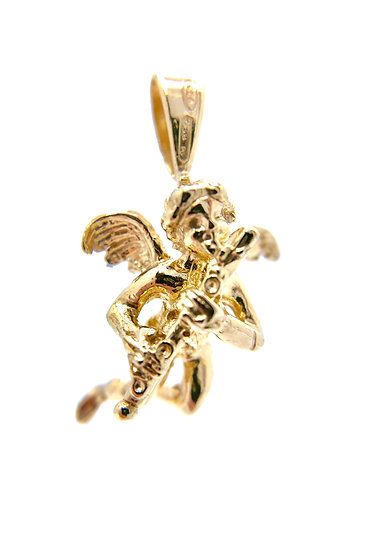 Pendente angelo cupido con flauto in argento 925 dorato.