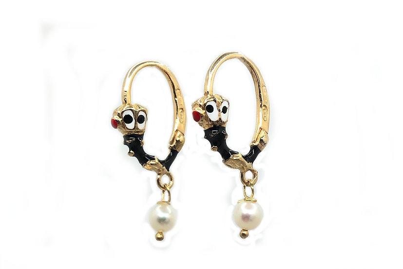 Orecchini pendenti Moretto Istriano, con smalti a fuoco e perle naturali