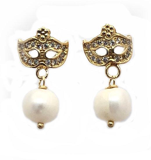 Orecchini Colombina Veneziana con Perle naturali.