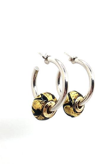 """Orecchini con Perle """"Foglia Oro"""" in vetro di Murano"""