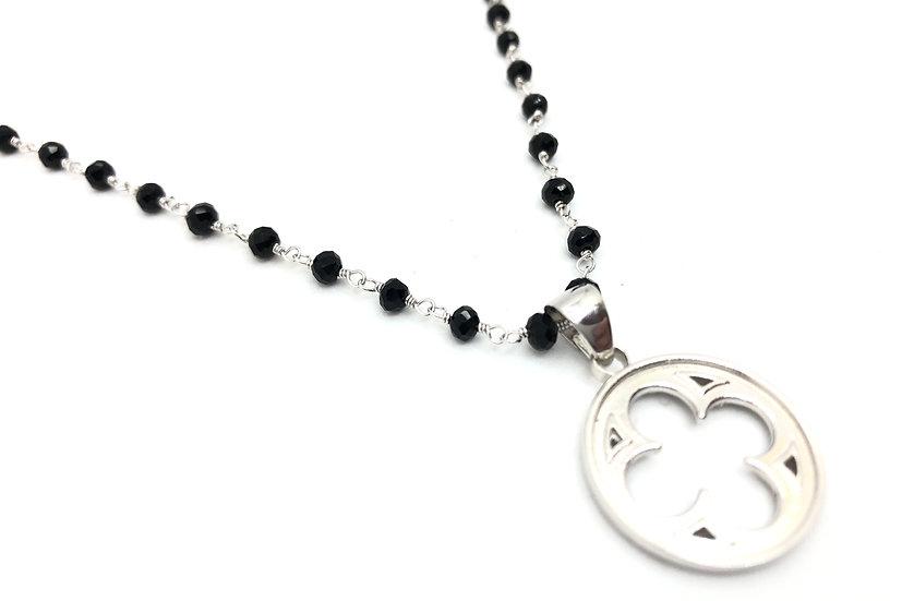 Collana con perle in Onice naturale e Rosone Veneziano in stile Gotico Fiorito