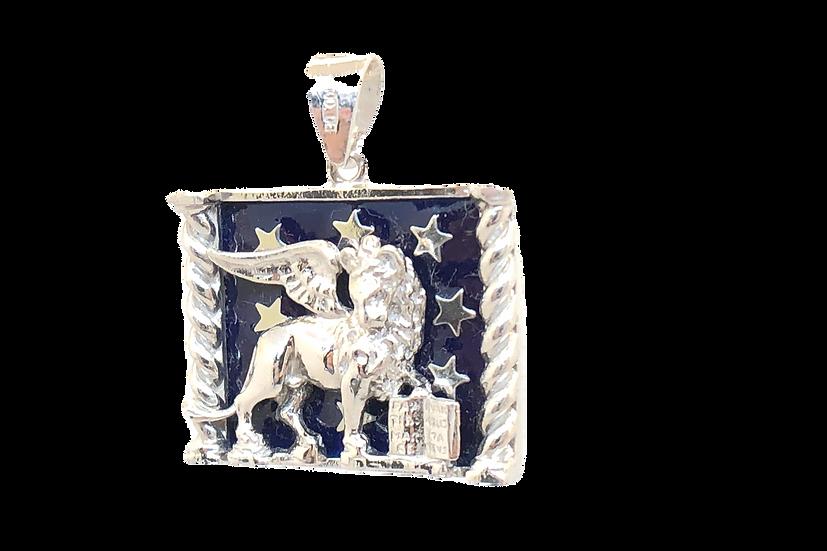 Ciondolo Leone alato di San Marco in Oro bianco 18 Kt.
