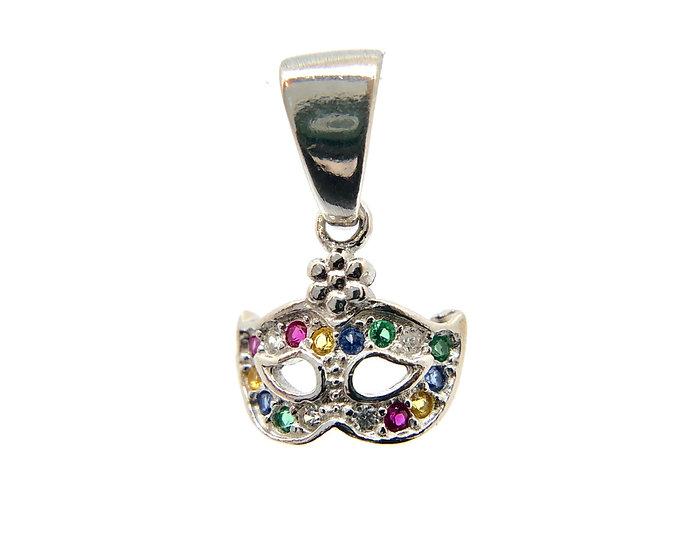 Pendente charms Colombina veneziana in argento 925 con zirconi multicolore.