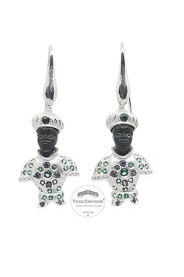 Orecchini Moretto Veneziano Prince in argento 925 e zirconi multicolor brillanti