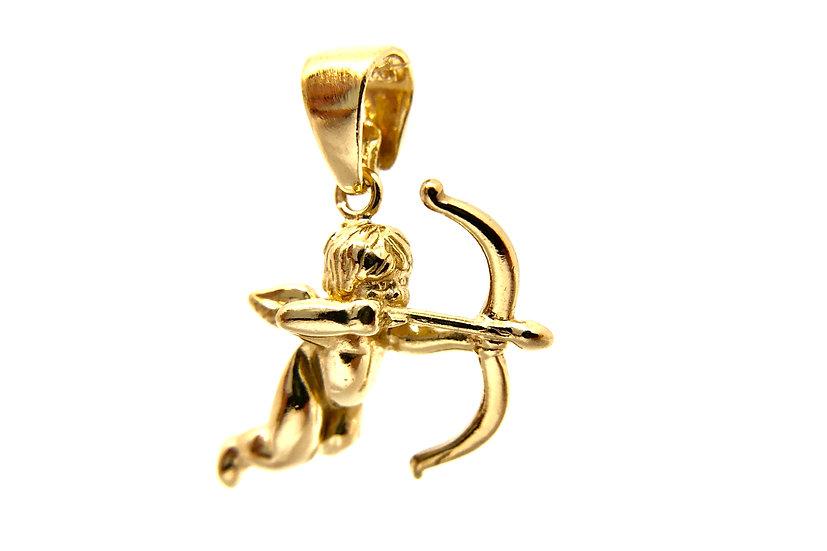 Pendente angelo cupido in argento 925 dorato.