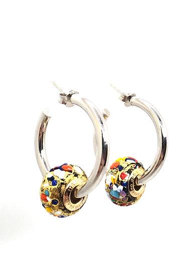 """Orecchini con Perle """"Mosaico"""" in vetro di Murano"""
