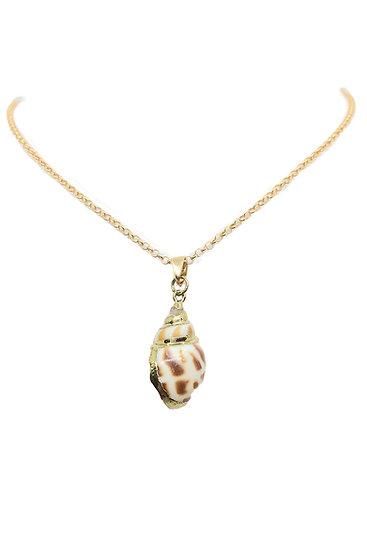 Ciondolo Caraibi con conchiglia maculata naturale e Argento 925 dorato