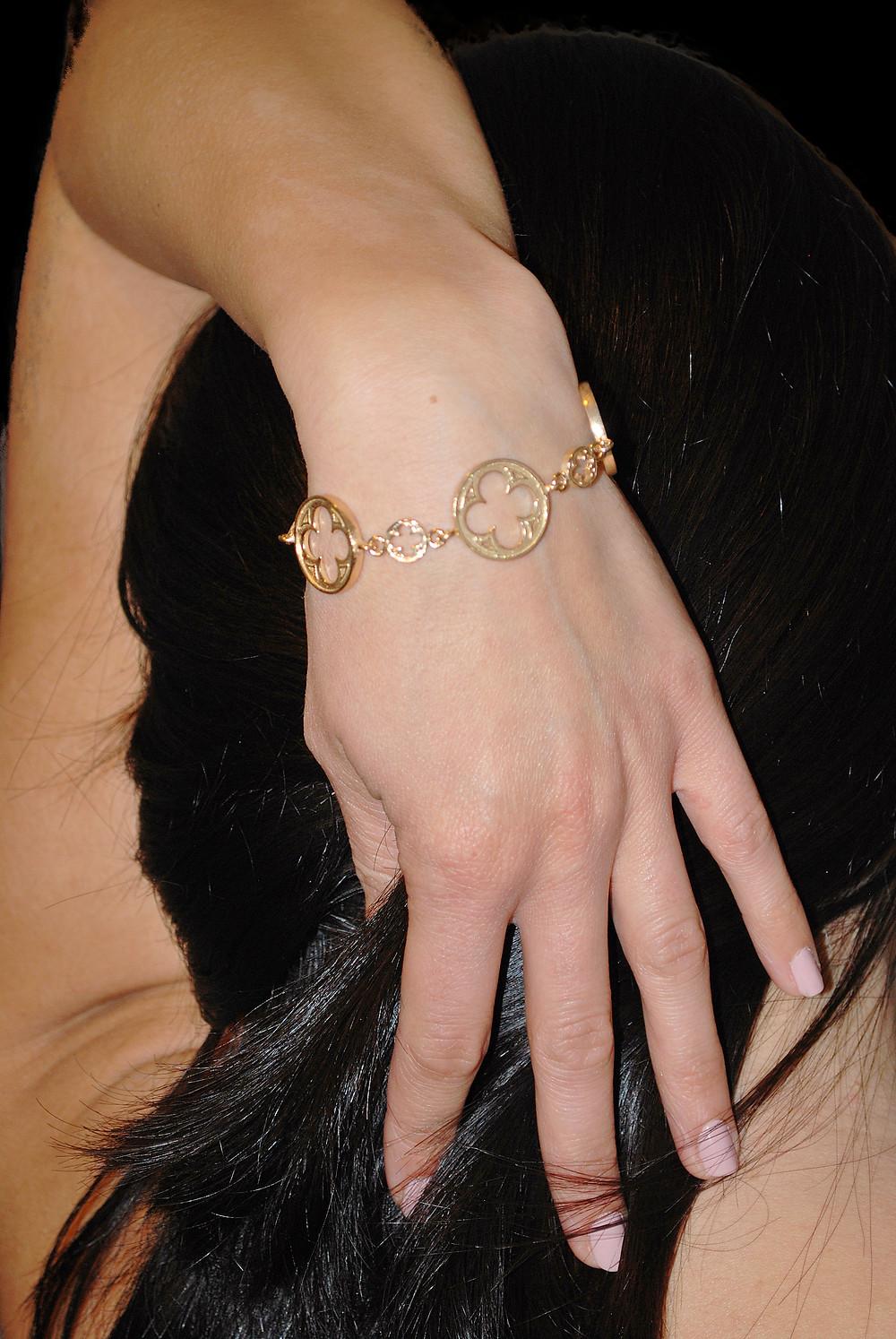 Bracciale con rosone gotico fiorito Veneziano in argento 925 dorato