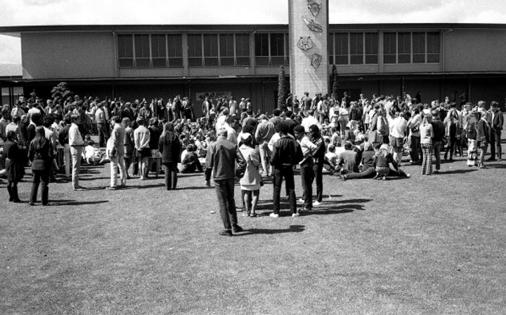 Students at Cubberley High School gather