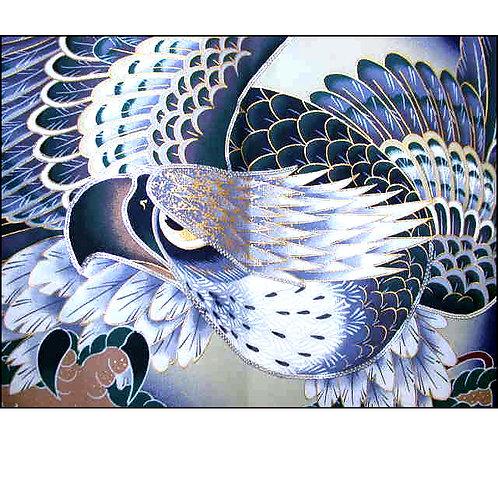 Indigo Hawk Silk Kimono